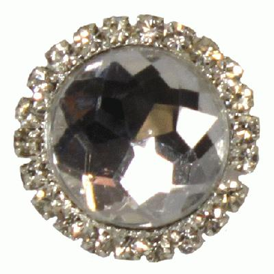 Diamanté Brooches - Gem stone with diamanté surround Clear 22mm 3pcs - Accessories