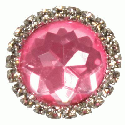 Diamanté Brooches - Gem stone with diamanté surround Pink 22mm 3pcs - Accessories
