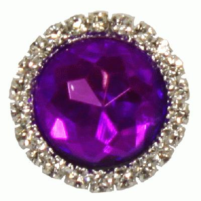 Diamanté Brooches - Gem stone with diamanté surround Purple 22mm 3pcs - Accessories