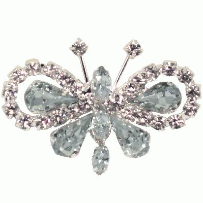 Diamanté Brooches - Butterfly 35x50mm 3pcs - Accessories