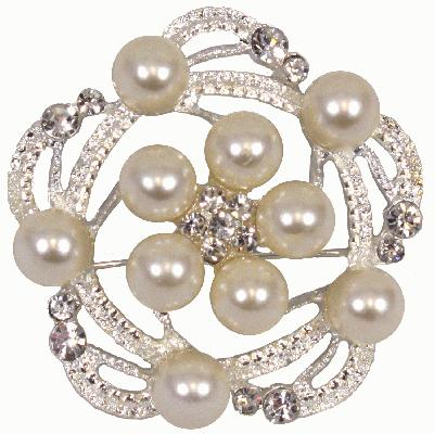Diamanté Brooch - Pearl & Diamanté Swirl 55mm 1pc - Accessories