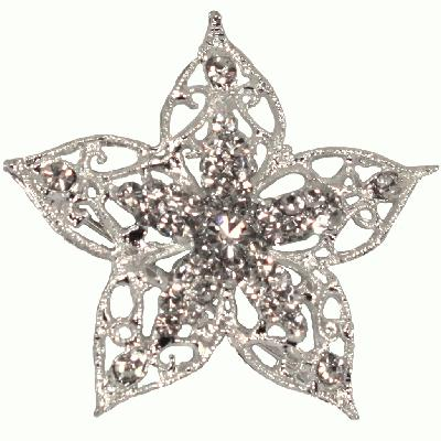 Diamanté Brooch - Ornate Diamanté Flower 50mm 1pc - Accessories