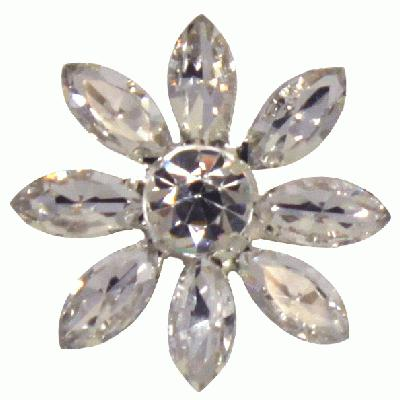 Diamanté Brooches - Crystal Glass Flower Clear 28mm 3pcs - Accessories