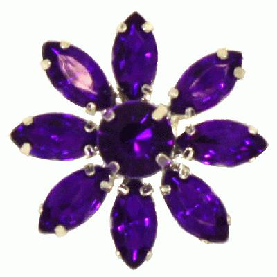 Diamanté Brooches - Acrylic Crystal Flower Purple 28mm 3pcs - Accessories