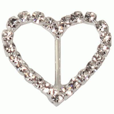 Diamanté Buckles - Heart 27mm 6pcs - Accessories