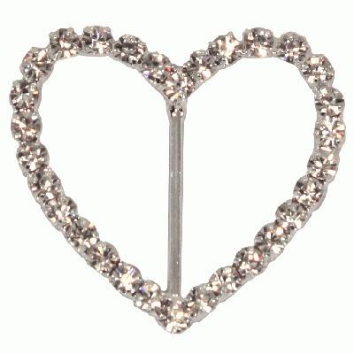 Diamanté Buckles - Heart 40mm 4pcs - Accessories
