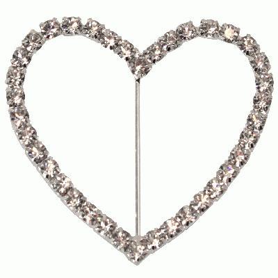 Diamanté Buckle - Heart 70mm 1pc - Accessories