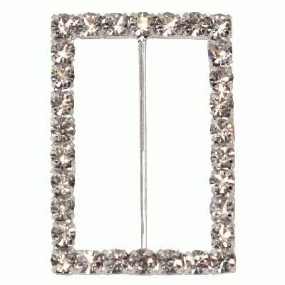 Diamanté Buckle - Rectangle 39x57mm 1pc - Accessories