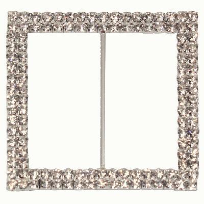 Diamanté Buckle - Double Square 65mm 1pc - Accessories