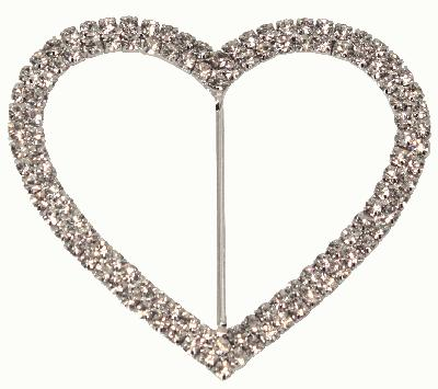 Diamanté Buckles - Double Heart 75mm 1pc - Accessories