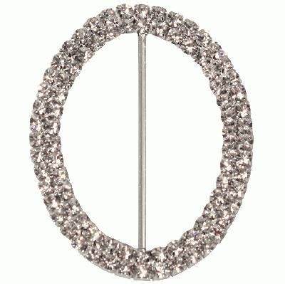 Diamanté Buckles - Double Oval 50mm x 65mm 1pc - Accessories