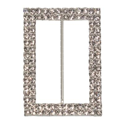 Eleganza Diamante Buckles Double Rectangle inner/outer size 50mm/45x65mm pack/1pc - Accessories