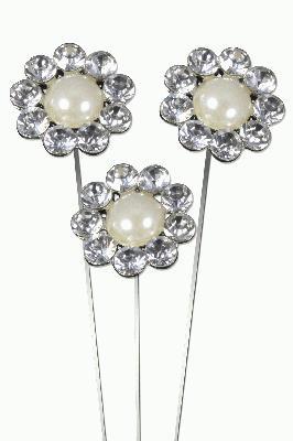 """Eleganza Large Pearl Diamante Surround Wire Picks 28mm 8"""" 3pcs - Accessories"""