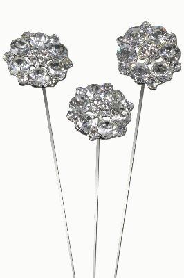 Eleganza Large Diamante Petals Wire Pick 25mm 3pcs - Accessories