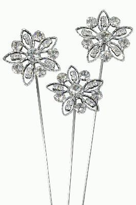 Eleganza Delicate Diamante Flower Wire Pick 30mm 3pcs - Accessories