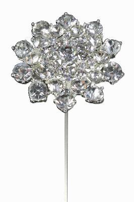 """Eleganza Classic Diamante Flower Wire Pick 45mm x 8"""" 1pc - Accessories"""
