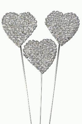 """Eleganza Domed Diamante Heart Wire Pick 30mm x 8"""" 3pcs - Accessories"""