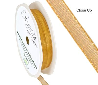 Woven Edge Ribbon 6mm x 20m Gold No.35A - Ribbons
