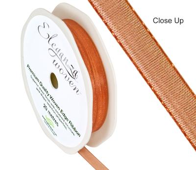 Woven Edge Ribbon 6mm x 20m Copper No.23 - Ribbons