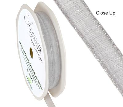 Woven Edge Ribbon 6mm x 20m Silver No.24 - Ribbons