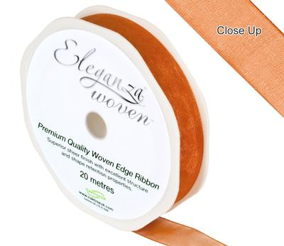 Woven Edge Ribbon 15mm x 20m Copper No.23 - Ribbons