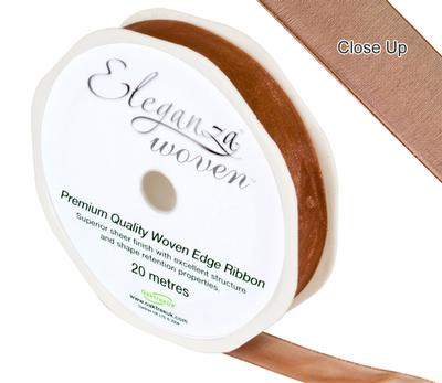 Woven Edge Ribbon 15mm x 20m Chocolate No.58 - Ribbons