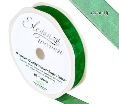 Woven Edge Ribbon 15mm x 20m Green No.50 - Ribbons