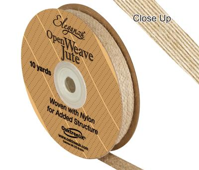 Eleganza Open Weave Jute 10mm x 9.1m (10yds) Natural No.02 - Ribbons