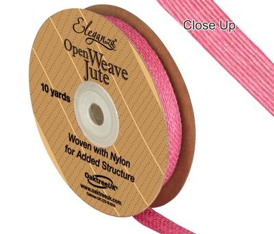 Eleganza Open Weave Jute 10mm x 9.1m (10yds) Hot Pink No.34 - Ribbons