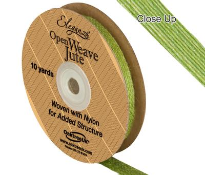 Eleganza Open Weave Jute 10mm x 9.1m (10yds) Pistachio No.27 - Ribbons