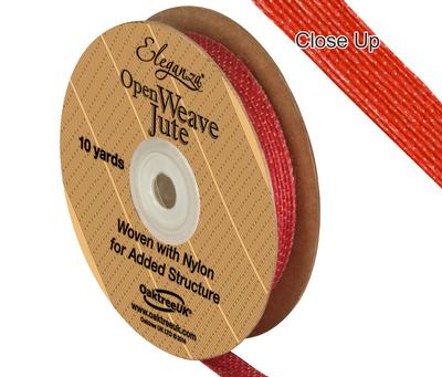 Eleganza Open Weave Jute 10mm x 9.1m (10yds) Red No.16 - Ribbons