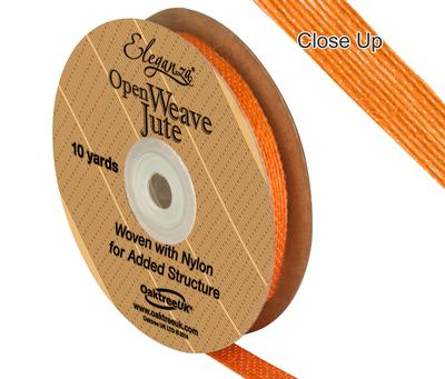 Eleganza Open Weave Jute 10mm x 9.1m (10yds) Orange No.04 - Ribbons