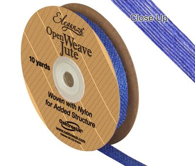 Eleganza Open Weave Jute 10mm x 9.1m (10yds) Blue No.18 - Ribbons