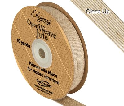 Eleganza Open Weave Jute 15mm x 9.1m (10yds) Natural No.02 - Ribbons
