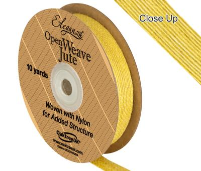 Eleganza Open Weave Jute 15mm x 9.1m (10yds) Yellow No.11 - Ribbons