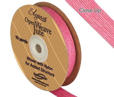Eleganza Open Weave Jute 15mm x 9.1m (10yds) Hot Pink No.34 - Ribbons