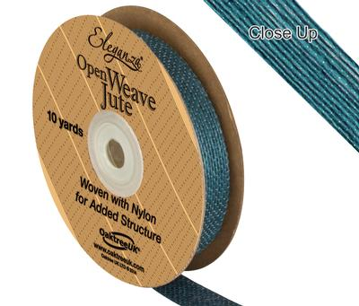 Eleganza Open Weave Jute 15mm x 9.1m (10yds) Teal No.56 - Ribbons