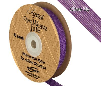 Eleganza Open Weave Jute 15mm x 9.1m (10yds) Purple No.36 - Ribbons