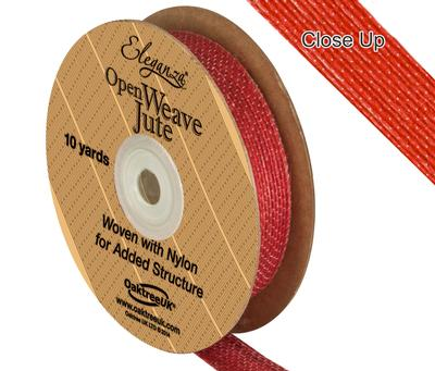 Eleganza Open Weave Jute 15mm x 9.1m (10yds) Red No.16 - Ribbons