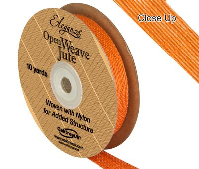 Eleganza Open Weave Jute 15mm x 9.1m (10yds) Orange No.04 - Ribbons