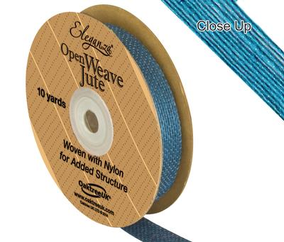Eleganza Open Weave Jute 15mm x 9.1m (10yds) Aqua - Ribbons
