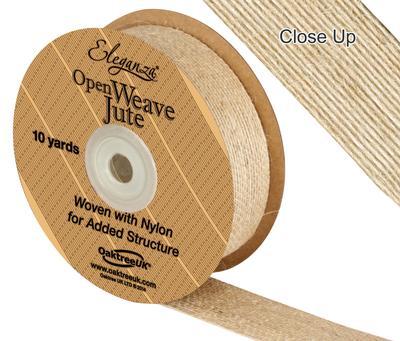 Eleganza Open Weave Jute 25mm x 9.1m (10yds) Natural No.02 - Ribbons