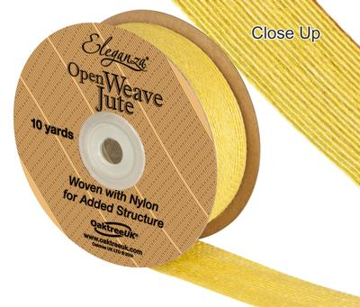 Eleganza Open Weave Jute 25mm x 9.1m (10yds) Yellow No.11 - Ribbons