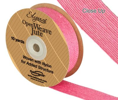 Eleganza Open Weave Jute 25mm x 9.1m (10yds) Hot Pink No.34 - Ribbons