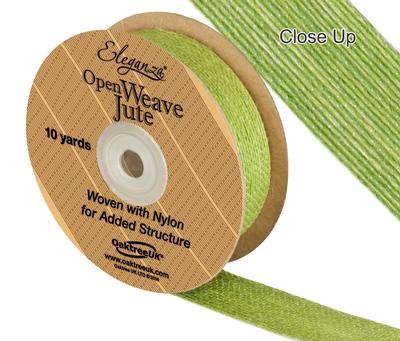 Eleganza Open Weave Jute 25mm x 9.1m (10yds) Pistachio No.27 - Ribbons