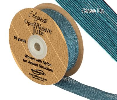 Eleganza Open Weave Jute 25mm x 9.1m (10yds) Teal No.56 - Ribbons