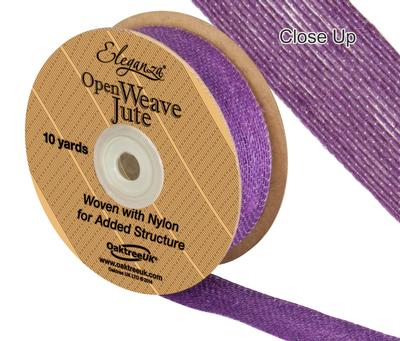 Eleganza Open Weave Jute 25mm x 9.1m (10yds) Purple No.36 - Ribbons