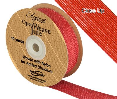 Eleganza Open Weave Jute 25mm x 9.1m (10yds) Red No.16 - Ribbons