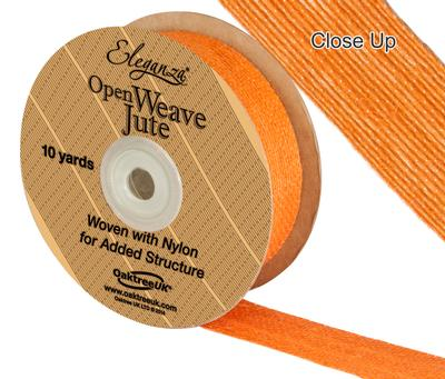 Eleganza Open Weave Jute 25mm x 9.1m (10yds) Orange No.04 - Ribbons