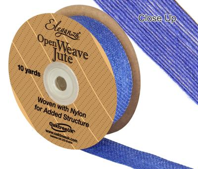 Eleganza Open Weave Jute 25mm x 9.1m (10yds) Blue No.18 - Ribbons
